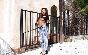 Amateur Asian teen babe Morgan Lee posing in denim jeans outdoors