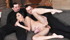 Asian MMF threesome with Yiki sucking cock and swallowing jism
