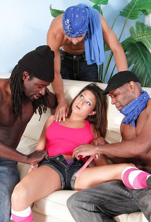 Teen sweetie Ally Style gets jizzed on in interracial gangbang action
