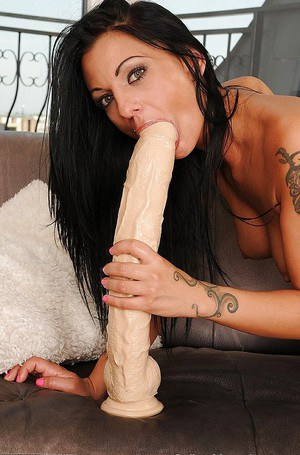 Extremely big dildo gets stuffed into pornstar Destiny Deville's pussy