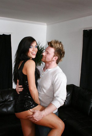 Kinky guy fucks tasty brunette Alyssa Reece and cums on her sexy legs