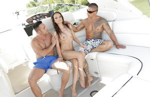 Two engorged boners fuck and cum all over milf pornstar Sophie Lynx
