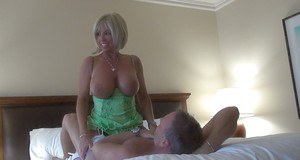 Blonde lady Sandra Oteerson bent over in stockings for ass fucking