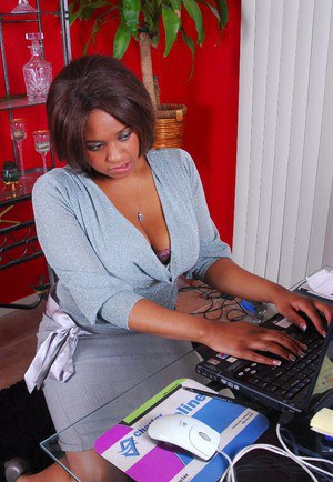 Black fatty Aleera exposing her big black boobs at the office