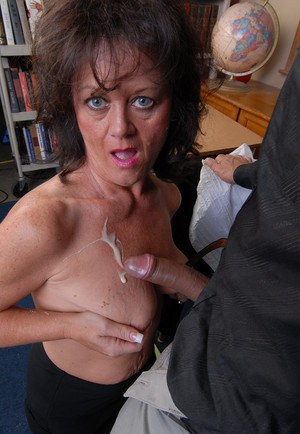 Large boner gets drained by granny teacher Debella's oral techniques