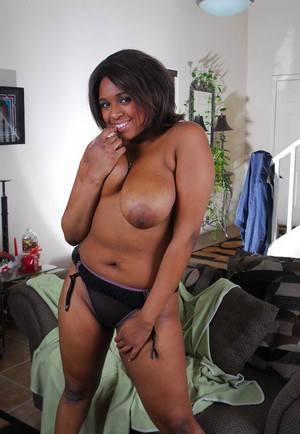 Ebony BBW Aleera fondles her massive juicy tits and licks them all up