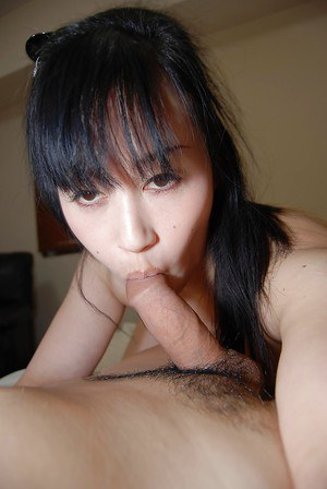 Oriental doll Hiromi Mishima sucking Asian cock and spreading pussy