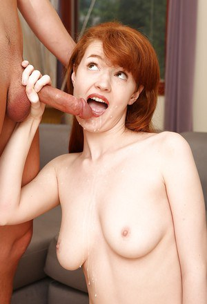 Young redhead Abby Rains has cunt lapped by older man and ass pounded