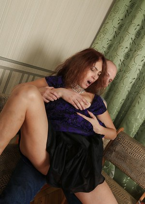 Aged lady Karolina gets ass fucked with saggy titties hanging