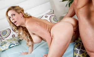 Using his massive pecker the stud plowed blonde MILF Cherie DeVill