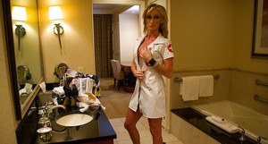 Amateur hottie Nadia Hilton got paid to dress up as a naughty nurse