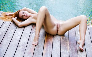 European pornstar Roberta Berti takes off her bikini and takes a dip