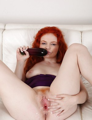An eggplant dildo is just thick enough for MILF Babeurre's mature twat