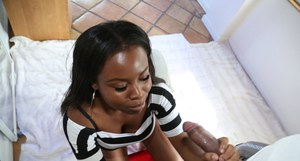 Chubby young black girl Chanel giving a handjob for a cumshot on boobs