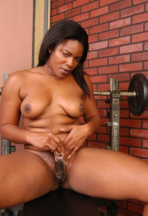 Chubby black chick Annabelle masturbating and toying her ebony pussy