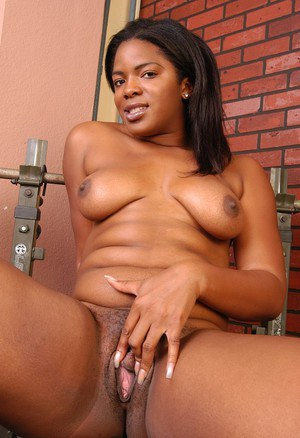 Chubby ebony Annabelle working out and stripping fat black ass naked