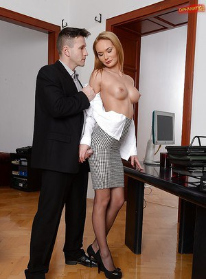 Busty secretary Kery Miller swallows cum from two co-workers