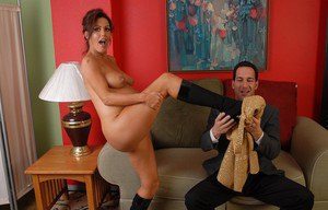 Mature pregger Nancy strips out of socks and boots for belly cumshot