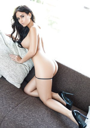 Busty centerfold model Vivien baring perfect tits and sleek legs