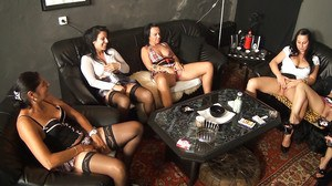 Five horny Latina sluts rub their cunts in a group masturbation party