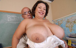 Horny teacher happily bangs horny experienced BBW Monet in the class