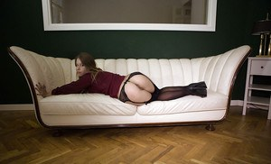 Amateur chick Nikky T. modelling in hot black stockings and garter