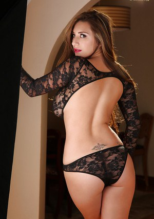 Stunning model September Carrino struts her stuff in sexy lingerie