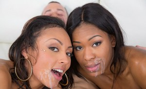 Interracial 3some featuring black girls Cherry Hilton and Nadia Jay
