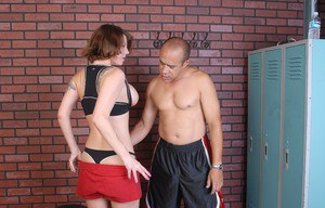 Sports minded older woman Kayla has her big firm breasts fondled