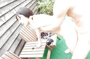 Her horny lover plowed Asian MILF Yuka Midorikawa hard in a back yard