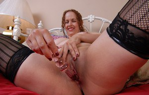 Chubby blonde first timer Kayla uses large sex toy on fat pussy