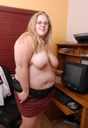 Blonde fatty Christina strips naked and spreads her shaved BBW pussy