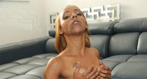 Ebony chick Bailey Banks gets ridden hard doggy style with facial cum