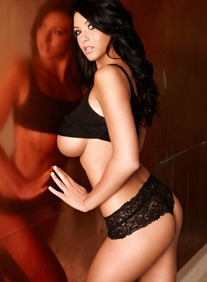 Busty brunette model Alice Goodwin unleashes all natural boobs