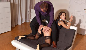 Submissive Euro slut Satin Bloom submits to master's BDSM fantasies