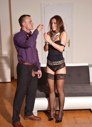 Kinky girl Satin Bloom is forced to obey her BDSM master and suck cock