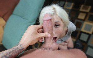 Young blond slut with braces Piper Perri sucks dick and takes creampie