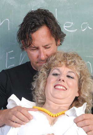 Blonde BBW Crystal gets fucked doggy style in classroom by student