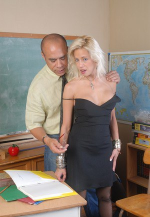 Blonde chick Alex gets fucked in classroom and swallows sperm