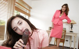 Young girl sucks a big black cock and eats cum with her mother's help