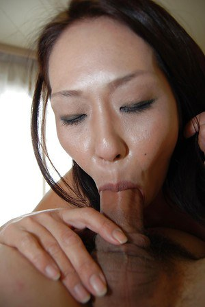 Horny Asian lady licking balls and cock in exciting new close ups