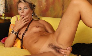 Older blond in pigtails strips naked to masturbate her hairy aged twat