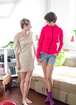Cute amateur lesbians Maely and Salma dressing up after getting off
