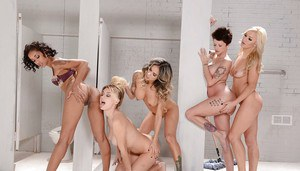 Hot lesbians Nadia Styles, Natalia Starr and Skin Diamond toying themselves