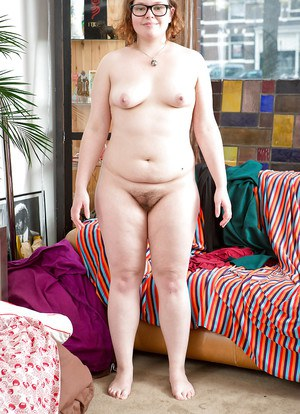 Ugly chubby brunette amateur Mirai posing and spreading her legs