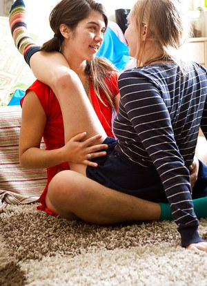Cute young girls Gala and Renae D kiss a girl for the first time