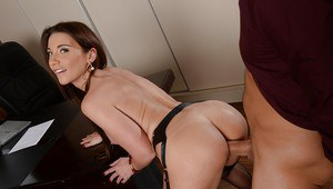 Busty office worker Julie Skyhigh attracts cock attention in nylons
