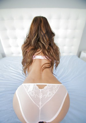 Petite babe Chloe Amour spreading shaved pussy in sexy white lingerie