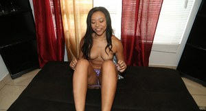 Ebony first timer Adrian Maya strips naked for homemade gf shots