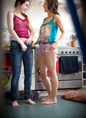 Barefoot lesbians Claudia S and Gloria pull on panties and pants after sex